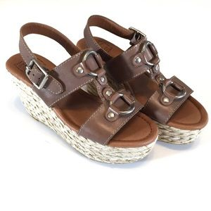 Lucky Reba Platform Wedge Espadrille Sandals 8